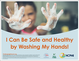 NCPMI poster 'I Can Be Safe and Healthy by Washing my Hands!' for children.