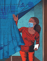Artwork by illustrator Boris Séméniako of a young Black woman weaing red clothing and a blue surgical mask, holding a notepad while pushing back a blue curtain decorated with historically significant motifs, as she exits a voting booth.