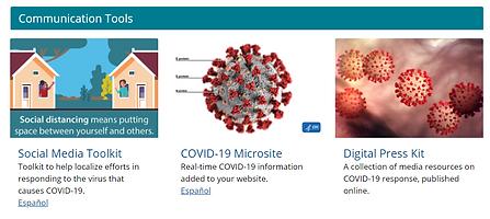 CDC Communication Resources: Social Media Toolkit, COVID-19 Microsite, Digital Press Kit.