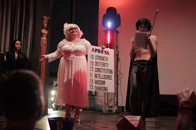 The Society of Sin's Dungeons & Dragon Queens: A Live Action Pen & Pasties Burlesque RPG in New Orleans. Queenie O'Hart as Afreya the Dwarf.