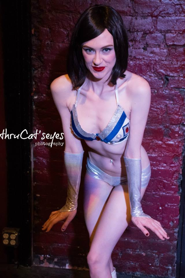 New Orleans Burlesque Performer Cherry Bombshell as R2-D2 in The Society of Sin's Star Wars Burlesque Show Thru Cat's Eyes Photography