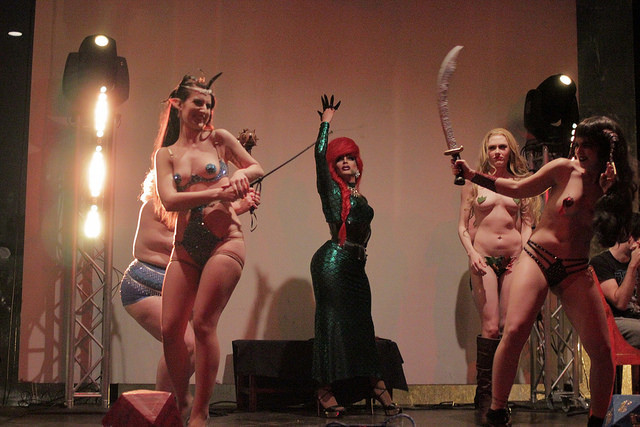 The Society of Sin's Dungeons & Dragon Queens: A Live Action Pen & Pasties Burlesque RPG in New Orleans. Performers: Darling Darla James, Madonnathan, Xena Zeit-Geist, Cherry Bombshell.