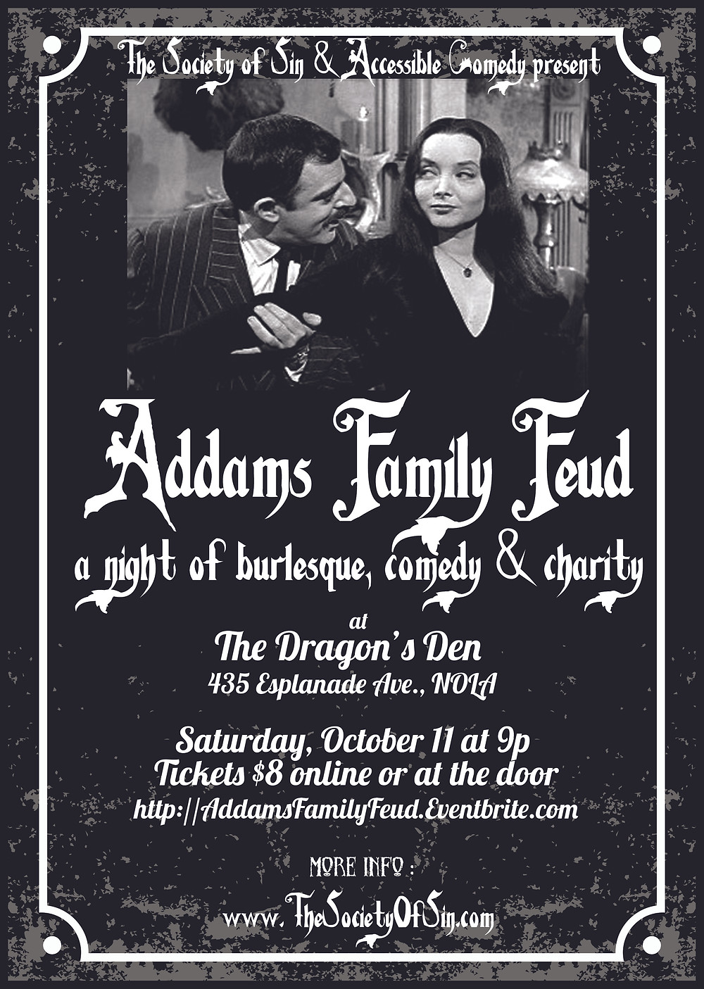 Addams Family Feud new orleans burlesque comedy variety the society of sin