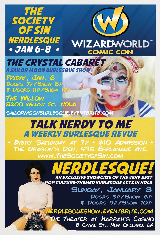 nerdlesque wizard world comic con new orleans society of sin xena zeit-geist