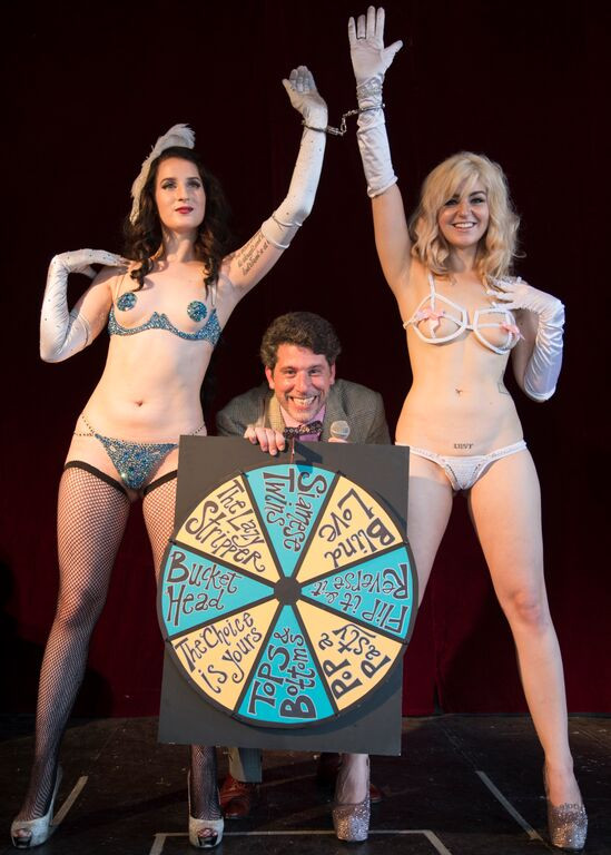 The Vice Is Right Gameshow Burlesque Every Tuesday at The Dragon's Den (Pictured: Darling Darla James, Ben Malisow, Xena Zeit-Geist)