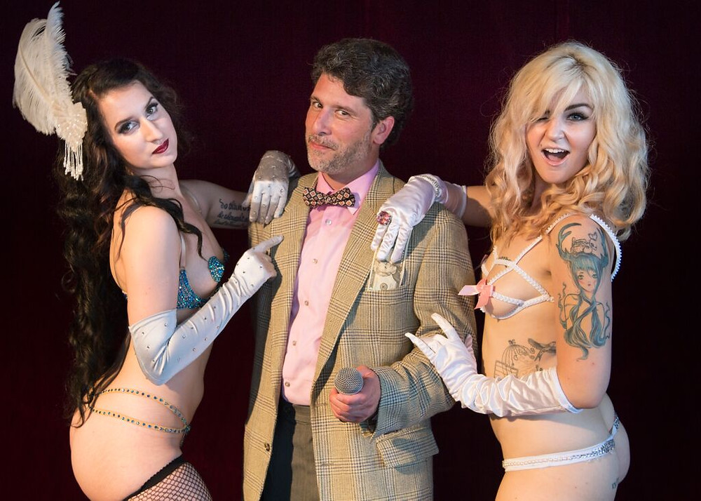 The Vice Is Right New Orleans Burlesque A Weekly Burlesque Gameshow presented by The Society of Sin, Pictured: Darling Darla James (Sideshow Showgirl), Ben Malisow (Host), Xena Zeit-Geist (Queen of Obscene, Founder of The Society of Sin)