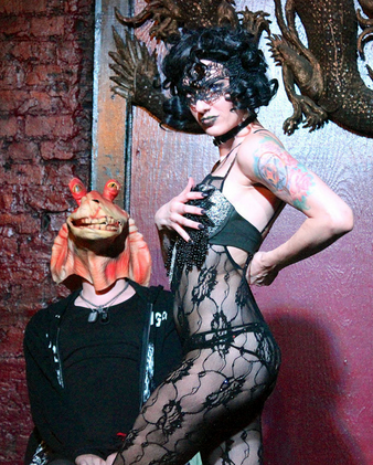 Angie Z performs her 'Kill Jar Jar Binks' act (with DJ Amen Five as the unfortunate Jar Jar) at the weekly 'Talk Nerdy to Me' burlesque show Saturday upstairs at the Dragon's Den on Frenchmen Street. The show, produced by The Society of Sin, features burlesque performances by sci-fi, horror and other fantasy-themed pop-culture nuggets. (Photo by David Lee Simmons, NOLA.com | The Times-Picayune)