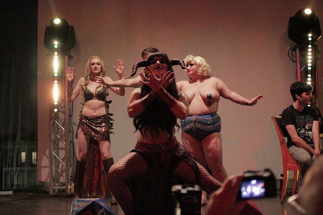 The Society of Sin's Dungeons & Dragon Queens: A Live Action Pen & Pasties Burlesque RPG in New Orleans. Performers: Xena Zeit-Geist, Cherry Bombshell, Queenie O'Hart.