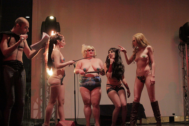 The Society of Sin's Dungeons & Dragon Queens: A Live Action Pen & Pasties Burlesque RPG in New Orleans. Performers: Stevie Poundcake, Darling Darla James, Queenie O'Hart, Xena Zeit-Geist, Cherry Bombshell.