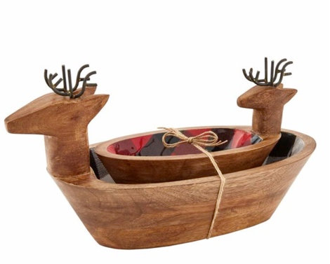 BUFFALO CHECK DEER SNACK BOWL SET