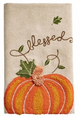 BLESSED EMBROIDERED PUMPKIN TOWEL