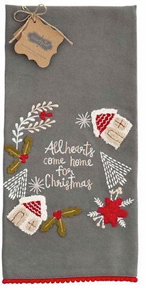 ALL HEART FRINGE CHRISTMAS TOWEL