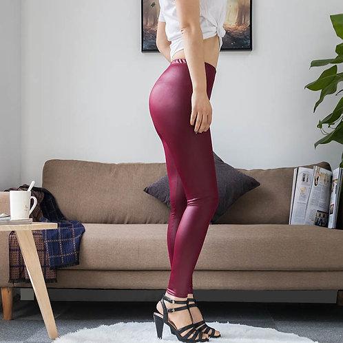 MARK CRAIG FX High Waist Faux Leather Sexy Women  Leggings Push All Sizes