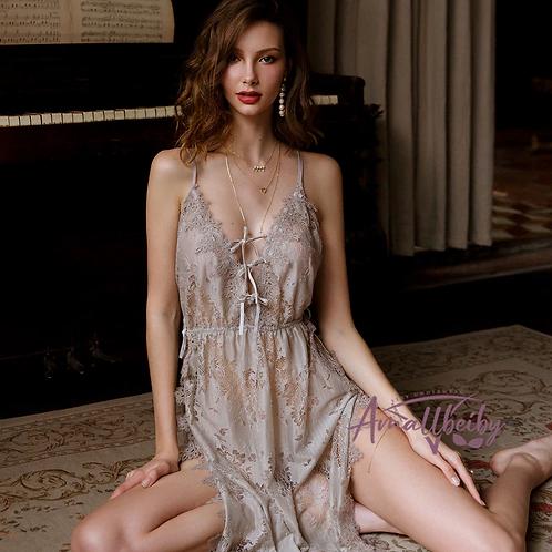 MARK CRAIG FX Lace Pajamas Women Transparent Low-Cut Backless Sleepwear Set