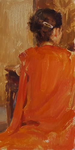 "SOLD- red kimono - 16 x 8"""