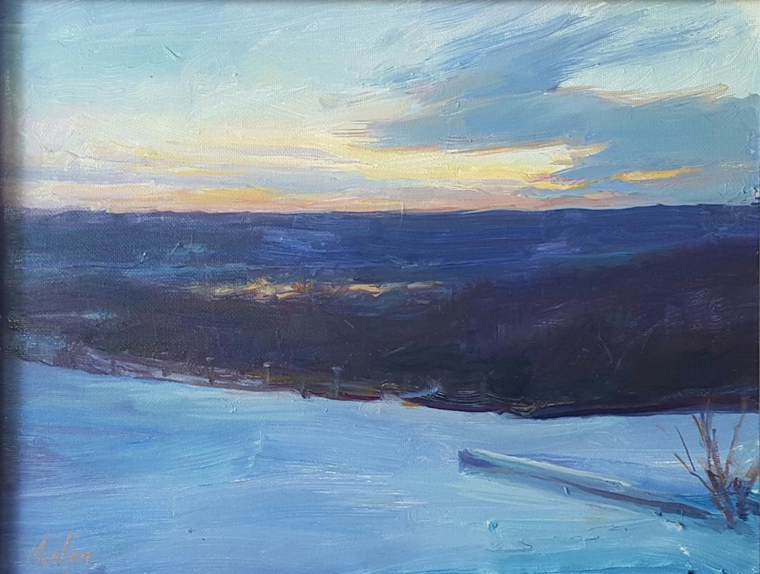 Winter morning view Dead Timber Road (David Mueller) 11 x 14_ oil