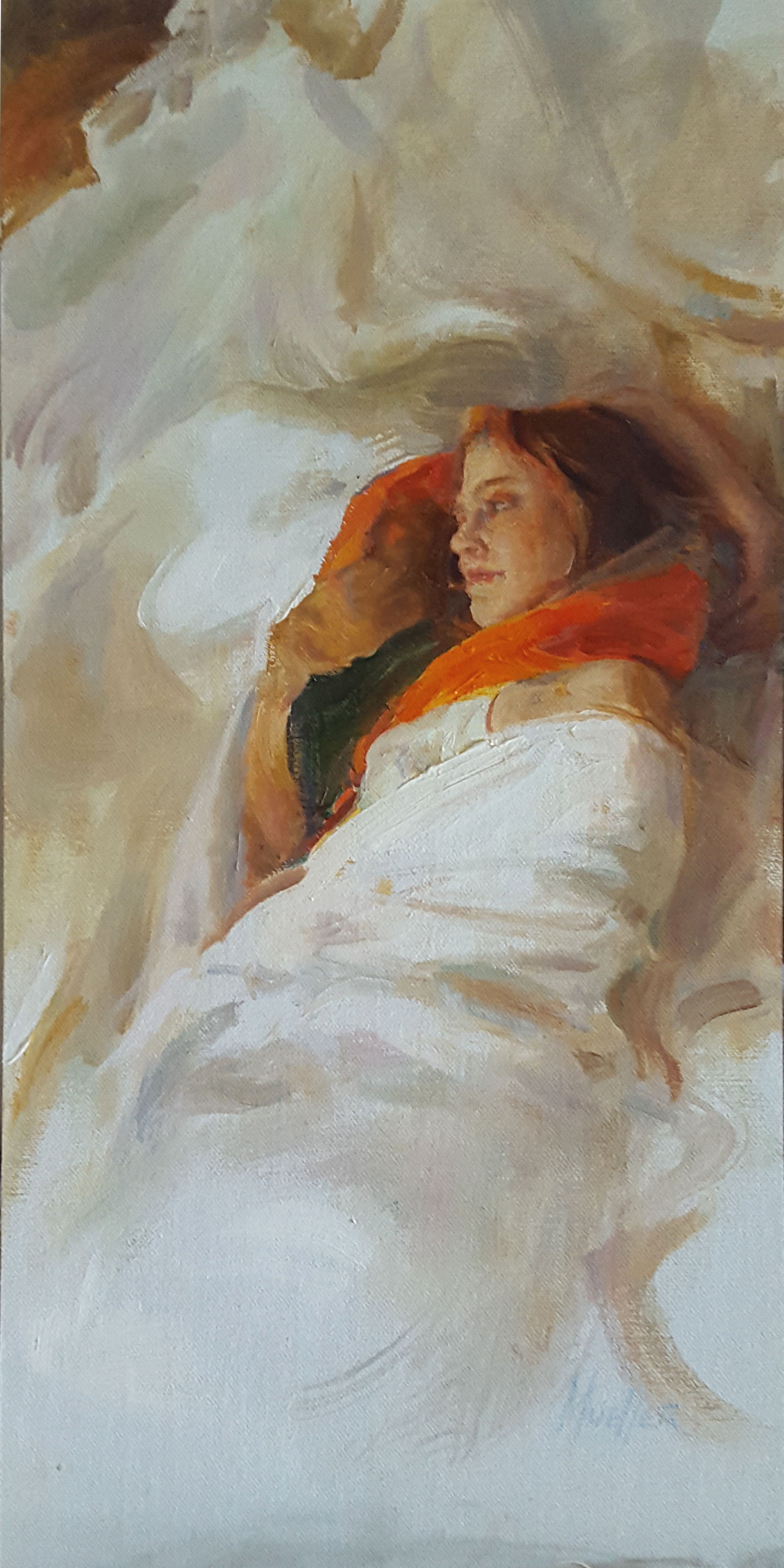 reclining on white 16 x 8""