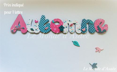 Prénom Fille Automne Papillons Oiseaux Turquoise Et Rose - Plaque de porte prénom
