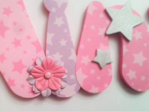 prénom fille - nina - chausson de danse étoile fleur - rose parme