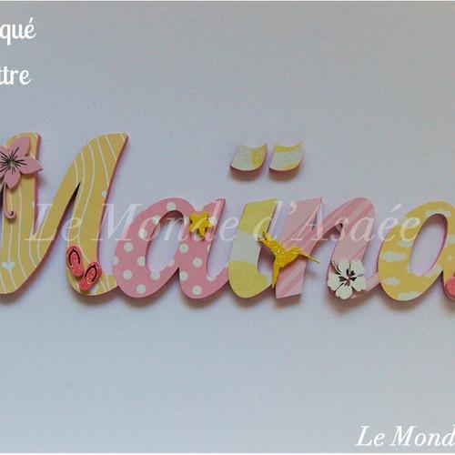 plaque de porte - prénom bois - décoration murale - mariage