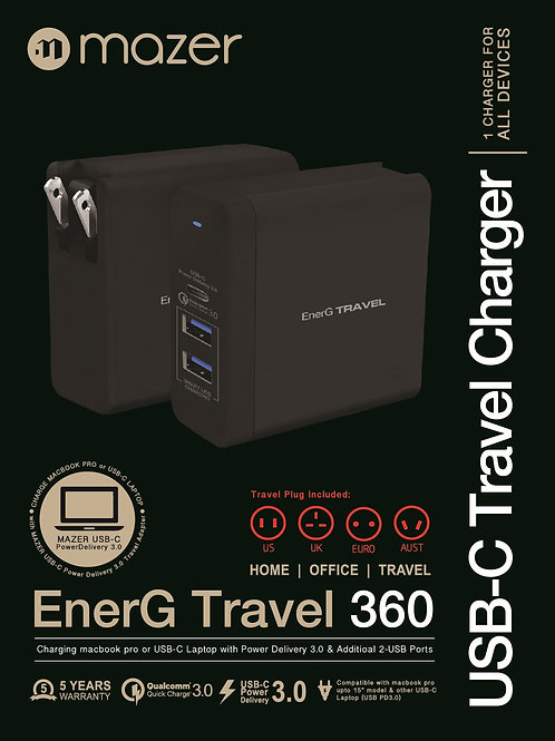 EnerG Travel 360 65W PD3.0+QC3.0+USB-AX2 Fast Charger
