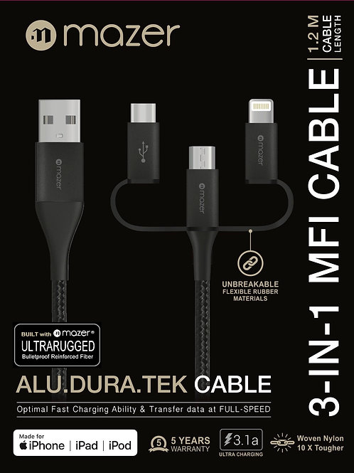 MFi 3-in-1 Lightning+USB-C+Micro USB 3.1A Fast Charging Cable