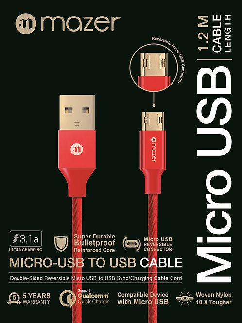 Mazer Micro-USB Reversible 3.1A Fast Charging Cable-1.2M