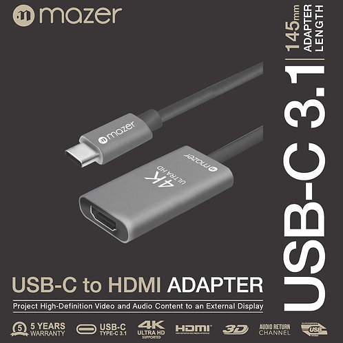 MAZER USB-C to HDMI 4K/60Hz Video Adapter