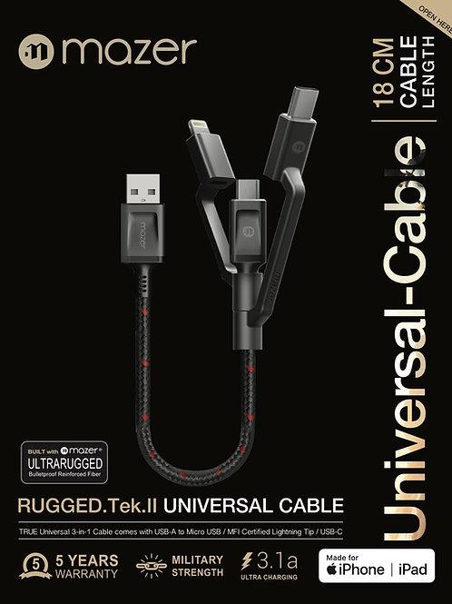 Multi-Tips Rugged.Tek.II 18CM USB to Lightning+Micro USB+USB-C Cable
