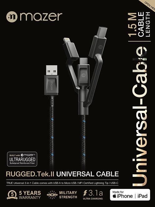 Multi-Tips Rugged.Tek.II 1.5M USB to Lightning+Micro USB+USB-C Cable