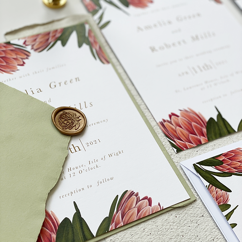 A5 Invitation - Protea