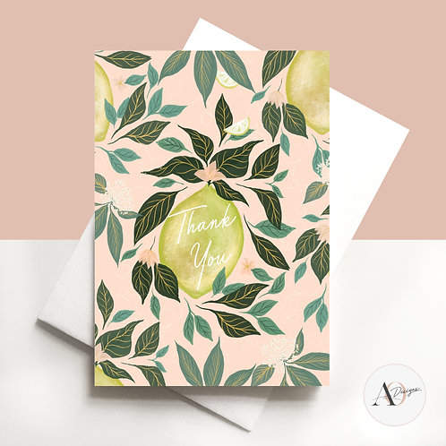 Greetings Card | Cards | Handmade | Hand Finished | Lemons