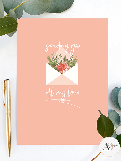 Sending All My Love | Greetings Cards | Pink | Handmade | Hand Finished | Cards