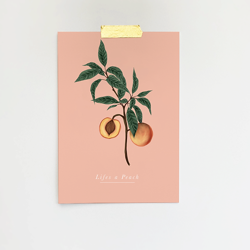 Life's Peachy | Peaches | Fruity | Cute | Pink | Home Print | Home Decor