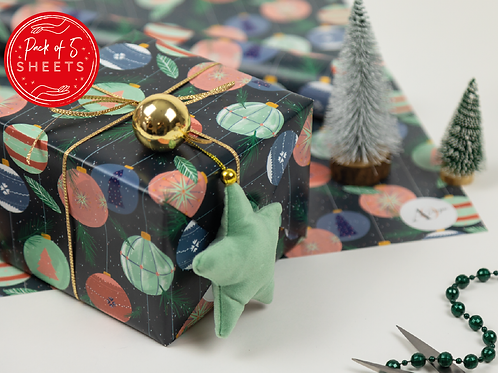 Christmas Wrapping Paper   Retro   Baubles   Pack of 5 Sheets