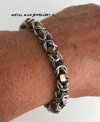 HTBY2 Two tone hex nut byzantine bracelet