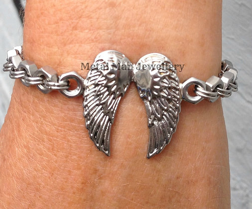 WB6 Angel wing and hex nut bracelet