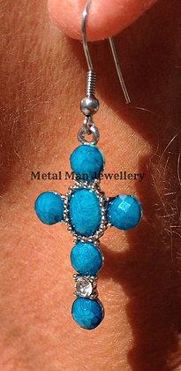 EA1 - Blue cross earrings