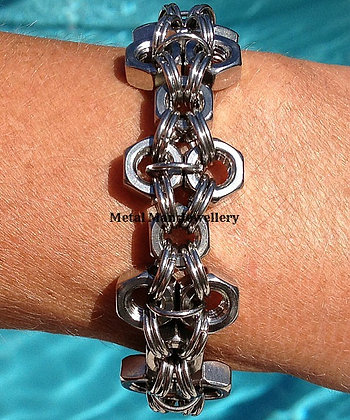 F - Unisex M6 Patterned Hex Nut Bracelet