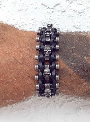 SKL - Skull on adjustable leather bracelet