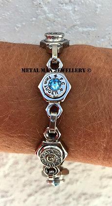 BU12 Hit and miss crystal bullet casing bracelet
