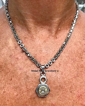 BU4 - Bullet casing on a hex nut necklace