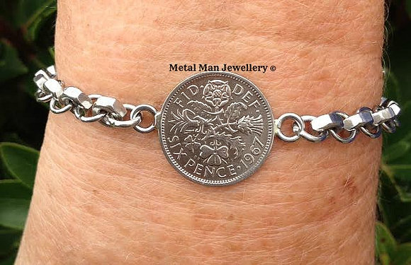 CA30 - Old sixpence coin on hex nut bracelet