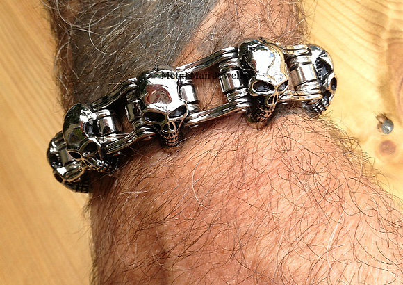BC5 - Skull and Bike Chain Bracelet