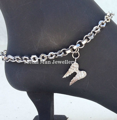 WA - Angel Wing and Hex Nut Ankle Chain