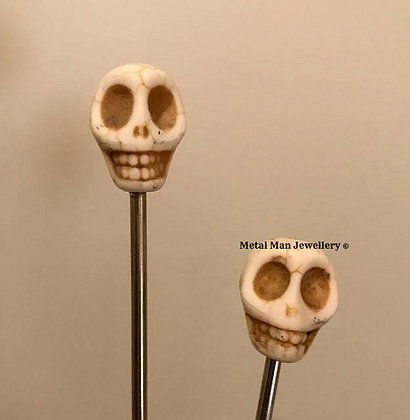 "HCS2 - A pair of White Skull Hair ""Chop"" sticks"