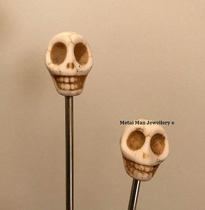 "HCS2 - A pair of White Skull Hair ""Chop"" sticks"