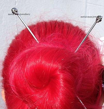 "HCS - A Pair of Skull Hair ""Chop"" Sticks"
