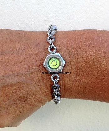 LR - Unisex Round level on M4 hex nut bracelet