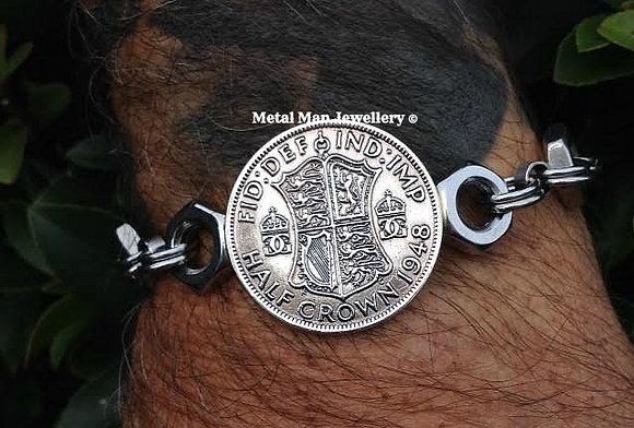 CA27 - Old Half Crown on a lock nut bracelet